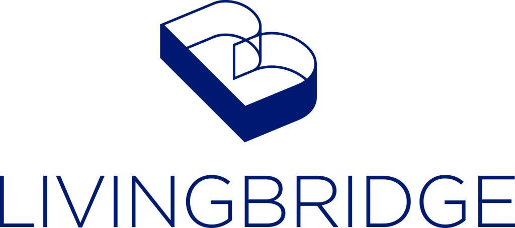 Livingbridge logo portrait blue CMYK